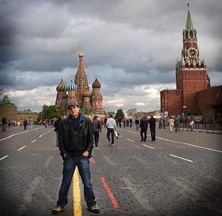 Vivian takes a shot on Red Square