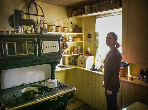 Tobey Admires The Kitchen. The House Is Off The Grid. Claire Has Solar  Power Backed Up By A Generator. Her Stove Is A Combination Of Wood And Gas  And Her ...